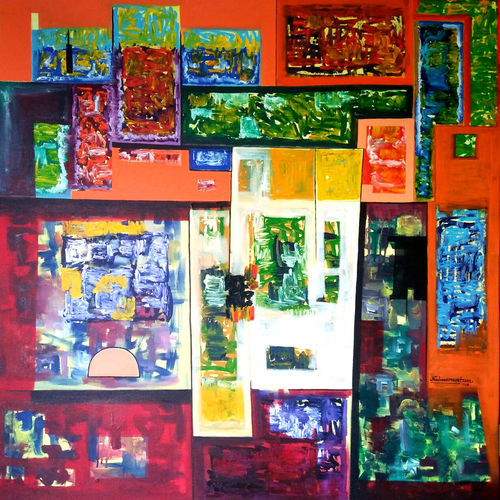abstract  39, 48 x 48 inch, naheem rustum,abstract paintings,paintings for office,canvas,acrylic color,48x48inch,GAL03447509