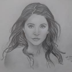 anushka sharma sketch, 12 x 8 inch, shahrukh  sareen,drawings,realism drawings,paintings for living room,paper,graphite pencil,12x8inch,GAL030477511