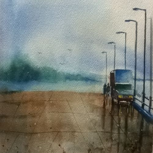 wet jetty andaman, 10 x 14 inch, dipankar  biswas,landscape paintings,paintings for living room,brustro watercolor paper,watercolor,10x14inch,GAL029327517