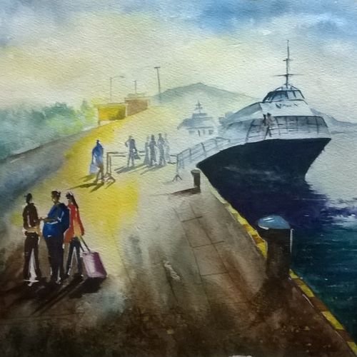 a bright jetty in andaman, 21 x 14 inch, dipankar  biswas,landscape paintings,paintings for living room,handmade paper,watercolor,21x14inch,GAL029327518