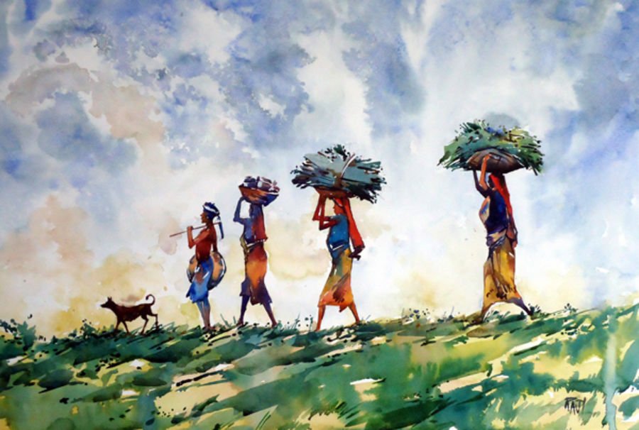 return to home, 21 x 15 inch, raji p,landscape paintings,paintings for dining room,canson paper,watercolor,21x15inch,GAL05907519