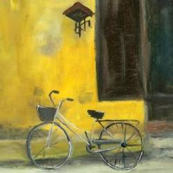 yello cycle, 12 x 12 inch, ritu george,abstract paintings,paintings for living room,ply board,oil,12x12inch,GAL030537528