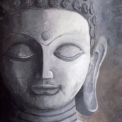 buddha  -true peace, 10 x 12 inch, debaditya sarkar,buddha paintings,paintings for living room,paintings for office,canvas,acrylic color,10x12inch,GAL0396753