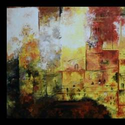 banaras, 20 x 18 inch, soma ray,abstract paintings,paintings for bedroom,canvas,acrylic color,20x18inch,GAL030557532