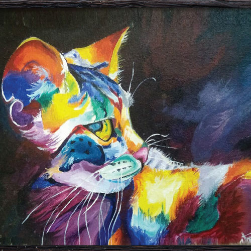 the cat, 18 x 12 inch, jithya jayaraj,abstract paintings,paintings for living room,canvas,acrylic color,18x12inch,GAL030447534