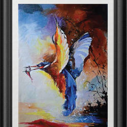 bird, 16 x 12 inch, jithya jayaraj,abstract paintings,paintings for living room,canvas,acrylic color,16x12inch,GAL030447535