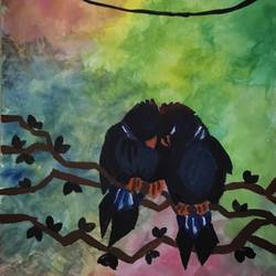 love birds, 12 x 17 inch, suvrojit choudhury,abstract drawings,paintings for living room,thick paper,watercolor,12x17inch,GAL028917536