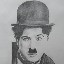 charlie chaplin, 10 x 14 inch, santanu sen,figurative drawings,paintings for living room,paper,graphite pencil,10x14inch,GAL019397540