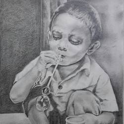 childhood memory, 10 x 14 inch, santanu sen,figurative drawings,paintings for living room,paper,graphite pencil,10x14inch,GAL019397541