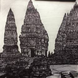 angkor wat pen sketch, 11 x 14 inch, rishabh  verma,portrait paintings,paintings for living room,drawing paper,ink color,11x14inch,GAL030637544