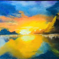 sunrise by the lake, 9 x 12 inch, rishabh  verma,landscape paintings,paintings for living room,thick paper,pastel color,9x12inch,GAL030637546