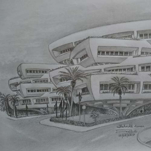 l&t headquarters sketch, 12 x 8 inch, shahrukh  sareen,drawings,figurative drawings,paintings for office,paper,graphite pencil,12x8inch,GAL030477552