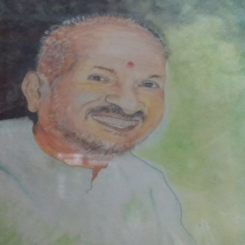 portrait of musician illaiyaraja , 6 x 9 inch, krithika  kandhanathan ,paintings,portrait paintings,hardboard,mixed media,6x9inch,GAL030807563