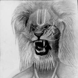 narasimha, 10 x 7 inch, krishna chandran,drawings,conceptual drawings,paintings for living room,drawing paper,graphite pencil,10x7inch,GAL030817571