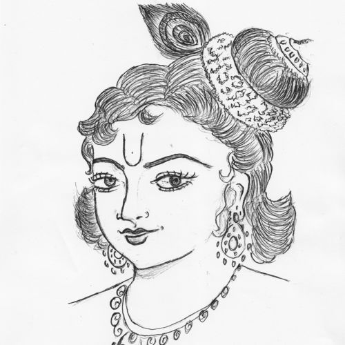 lord krishna , 9 x 11 inch, vidhya vidhya,radha krishna drawings,paintings for living room,radha krishna paintings,drawing paper,pen color,9x11inch,GAL030657574,littlekrishna,love,lord,lordkrishna,krishna