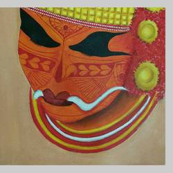 theyyam, 16 x 13 inch, surya c g,religious paintings,paintings for living room,canvas,acrylic color,16x13inch,GAL030857580