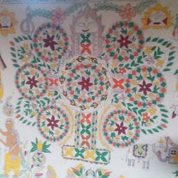 mithila, 25 x 20 inch, pooja vats,paintings for bedroom,madhubani paintings,cloth,fabric,25x20inch,GAL030897582