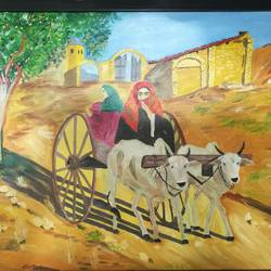 travel, 20 x 16 inch, abhimanyu duggal,folk art paintings,paintings for living room,canvas,oil,20x16inch,GAL030927586