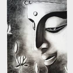 buddha, 22 x 30 inch, retika chopra,buddha drawings,paintings for living room,vertical,handmade paper,charcoal,22x30inch,GAL030947591