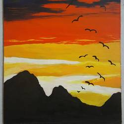 sunsets, 12 x 16 inch, retika chopra,nature paintings,paintings for living room,hardboard,acrylic color,12x16inch,GAL030947594Nature,environment,Beauty,scenery,greenery