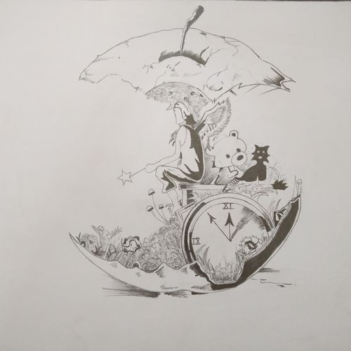an apple , 21 x 14 inch, preksha jain,drawings,abstract drawings,paintings for office,paper,charcoal,21x14inch,GAL021387597