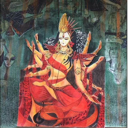good wins over evil, 48 x 60 inch, payel kolay,religious paintings,paintings for living room,cartridge paper,mixed media,48x60inch,GAL031037598