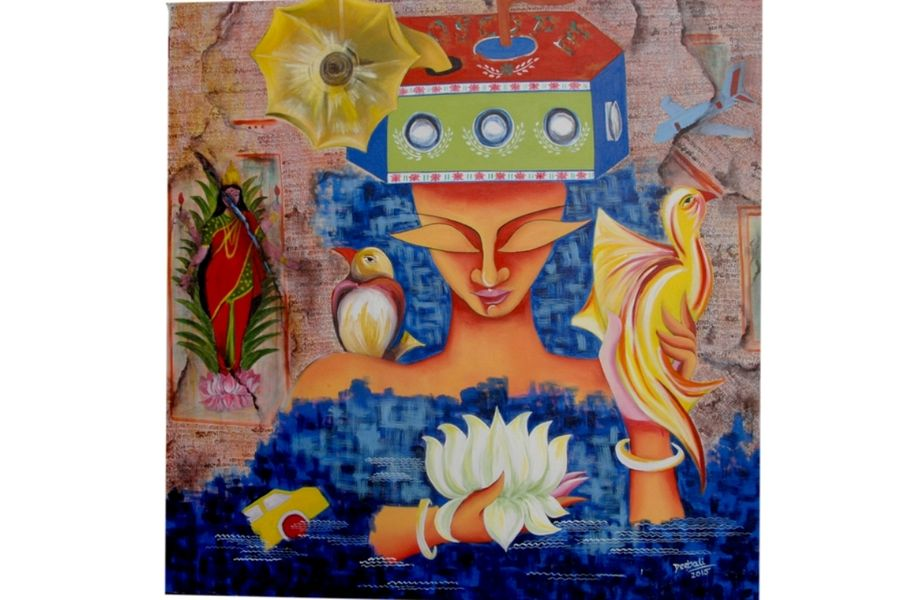 dreams & desire, 36 x 36 inch, deepali mundra,figurative paintings,paintings for living room,canvas,acrylic color,36x36inch,GAL0400760