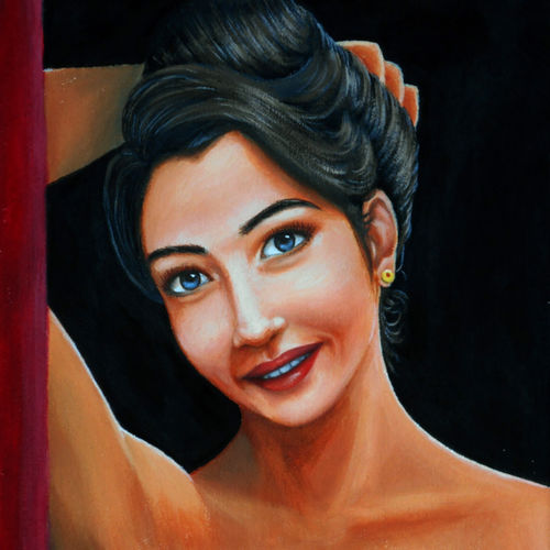 come inside, 12 x 16 inch, gyanaditya mourya,figurative paintings,paintings for bedroom,canvas,acrylic color,12x16inch,GAL0687601