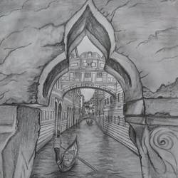 venice, 8 x 12 inch, shahrukh  sareen,street art,paintings for dining room,cityscape paintings,paper,graphite pencil,8x12inch,GAL030477611