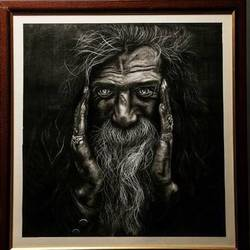 the beard man, 23 x 33 inch, dikshika pardhan,portrait paintings,paintings for office,cartridge paper,charcoal,23x33inch,GAL020187612