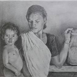 poverty, 14 x 10 inch, santanu sen,figurative drawings,paintings for living room,paper,graphite pencil,14x10inch,GAL019397614
