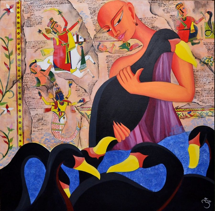 black swans, 36 x 36 inch, deepali mundra,figurative paintings,paintings for dining room,canvas,oil paint,36x36inch,GAL0400762