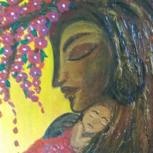 on canvas, 14 x 18 inch, khushboo  kedia,conceptual paintings,paintings for living room,canvas board,mixed media,14x18inch,GAL031227626