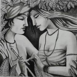 Radha Krishna Drawings Buy Original Krishna Drawings Online By Top Artist