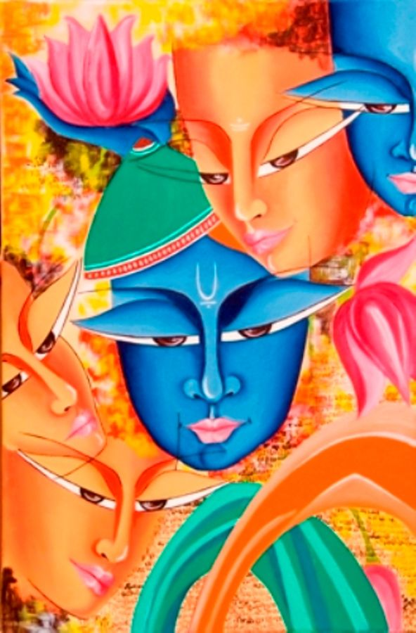 composition on shree krishna, 18 x 24 inch, deepali mundra,figurative paintings,paintings for living room,radha krishna paintings,canvas,oil paint,18x24inch,GAL0400763
