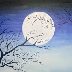silent night, 20 x 16 inch, dhanasree p,paintings,nature paintings,paintings for office,canvas board,acrylic color,20x16inch,GAL031097630Nature,environment,Beauty,scenery,greenery,moon,moonlight,trees,branches
