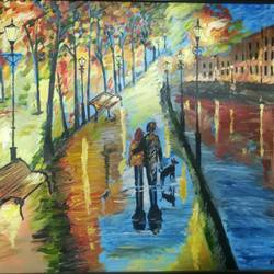 together, 20 x 16 inch, abhimanyu duggal,landscape paintings,paintings for bedroom,canvas,oil,20x16inch,GAL030927633