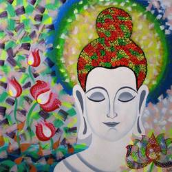 buddha, 24 x 24 inch, amita dand,buddha paintings,paintings for living room,canvas,mixed media,24x24inch,religious,peace,meditation,meditating,gautam,goutam,buddha,colourful,flowers,lotus,white,GAL014677634