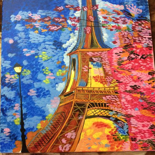 city of love, 12 x 15 inch, lekha preeth,cityscape paintings,paintings for bedroom,canvas,acrylic color,12x15inch,GAL031297635
