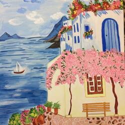 greece beach, 12 x 15 inch, lekha preeth,landscape paintings,paintings for bedroom,canvas,acrylic color,12x15inch,GAL031297636