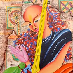 jiggyasa, 24 x 48 inch, deepali mundra,paintings for living room,figurative paintings,modern art paintings,canvas,oil paint,24x48inch,GAL0400764