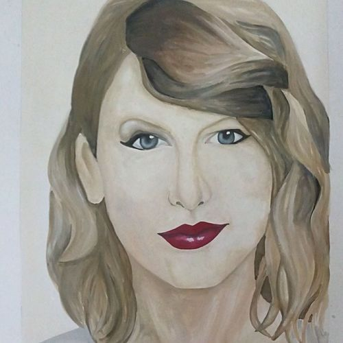 taylor swift portrait, 12 x 17 inch, banoshree bose,paintings,portrait paintings,paintings for living room,paper,watercolor,12x17inch,GAL030467642