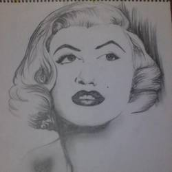 marilyn monroe, 12 x 17 inch, banoshree bose,drawings,portrait drawings,paintings for living room,paper,graphite pencil,12x17inch,GAL030467643