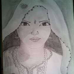 banjara woman, 12 x 17 inch, banoshree bose,drawings,portrait drawings,paintings for office,paper,graphite pencil,12x17inch,GAL030467644