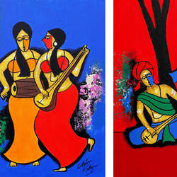 musical party, 24 x 16 inch, chetan katigar,figurative paintings,paintings for living room,horizontal,canvas board,acrylic color,24x16inch,GAL02667646