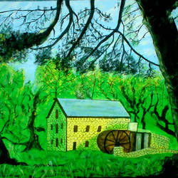 beautiful house in forest, 29 x 21 inch, ashish lokhande,landscape paintings,paintings for living room,canvas,poster color,29x21inch,GAL031327647