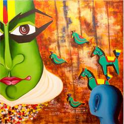 me & the mask, 36 x 36 inch, deepali mundra,figurative paintings,paintings for bedroom,canvas,oil paint,36x36inch,GAL0400765