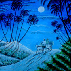 bull cart  with farmer, 29 x 21 inch, ashish lokhande,landscape paintings,paintings for living room,canvas,poster color,29x21inch,GAL031327654