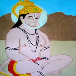 lord hanuman ji, 21 x 29 inch, ashish lokhande,paintings,portrait paintings,paintings for living room,canvas,poster color,21x29inch,GAL031327657