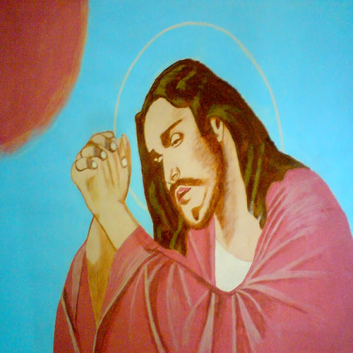 lord jesus christ, 29 x 21 inch, ashish lokhande,paintings,portrait paintings,paintings for living room,canvas,poster color,29x21inch,GAL031327658